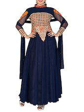 Blue Net Embroidered Long Gown - By