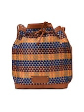 Multicoloured Embroidered Bucket Bag With Pouch - By