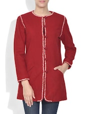 Red Embroidered Buttoned Woolen Long Coat - By