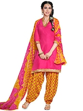 Pink Cotton Printed Semi-Stitched Suit Set - By
