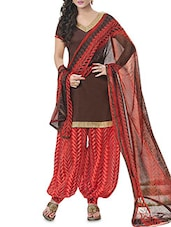 Brown Cotton Printed Semi-Stitched Suit Set - By