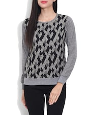 Grey Woollen Geometric Printed Sweater - By