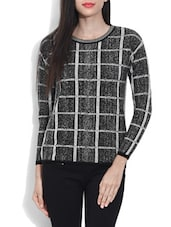 Black Acrylic Checkered Pullover - By