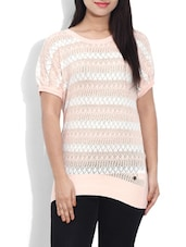 Pink Cotton Striped Pullover - By
