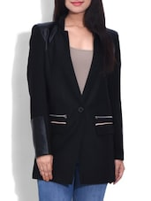 Plain Black Woollen Blend Coat - By