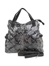 Black Faux Leather Printed Hand Bag - By