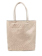 Beige Faux Leather Hand Bag - By
