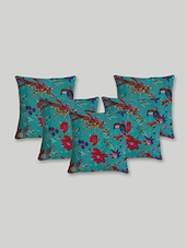 Rajcrafts Green Ethinc Traditional Bird Print Kantha Work Sofa Covers With Cushions - By