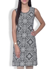 Grey Printed Sleeveless Poly Crepe Kurta - By