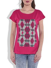 Red  Printed Cotton Knit Top - By