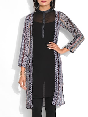 Black Printed Georgette Kurta