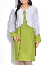 Green And White Crepe Kurta With Faux Shrug - By