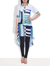 Printed Blue Georgette Hi-Lo Shirt Kurta - By