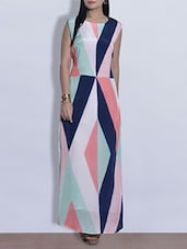 Multicoloured Printed Maxi Dress With Cut-out Back - By