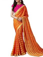 Red Georgette Striped Saree - By