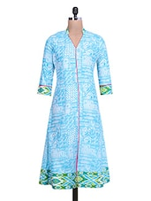 Blue And White Abstract Printed Cotton Kurta - By