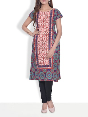 Multicoloured printed short-sleeved polycrepe kurti