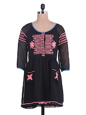 Black Embroidered Georgette Long Top - By