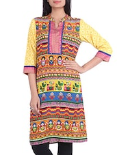 Yellow Printed Quarter Sleeved Cotton Kurta - By