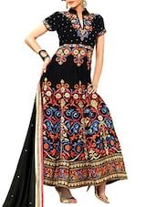 Black Georgette And Velvet Unstitched Suit Set - By