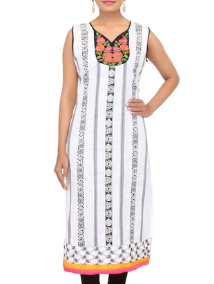 white printed cotton kurta with floral embroidered neckline