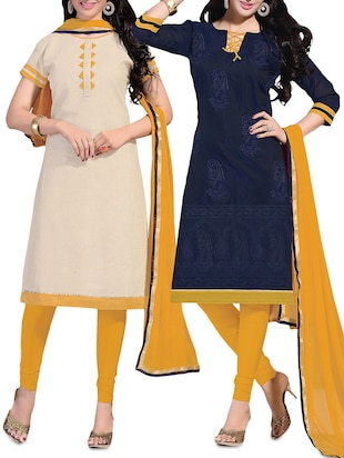 Beige Chanderi Cotton Printed Unstitched Suit Set- Set Of 2