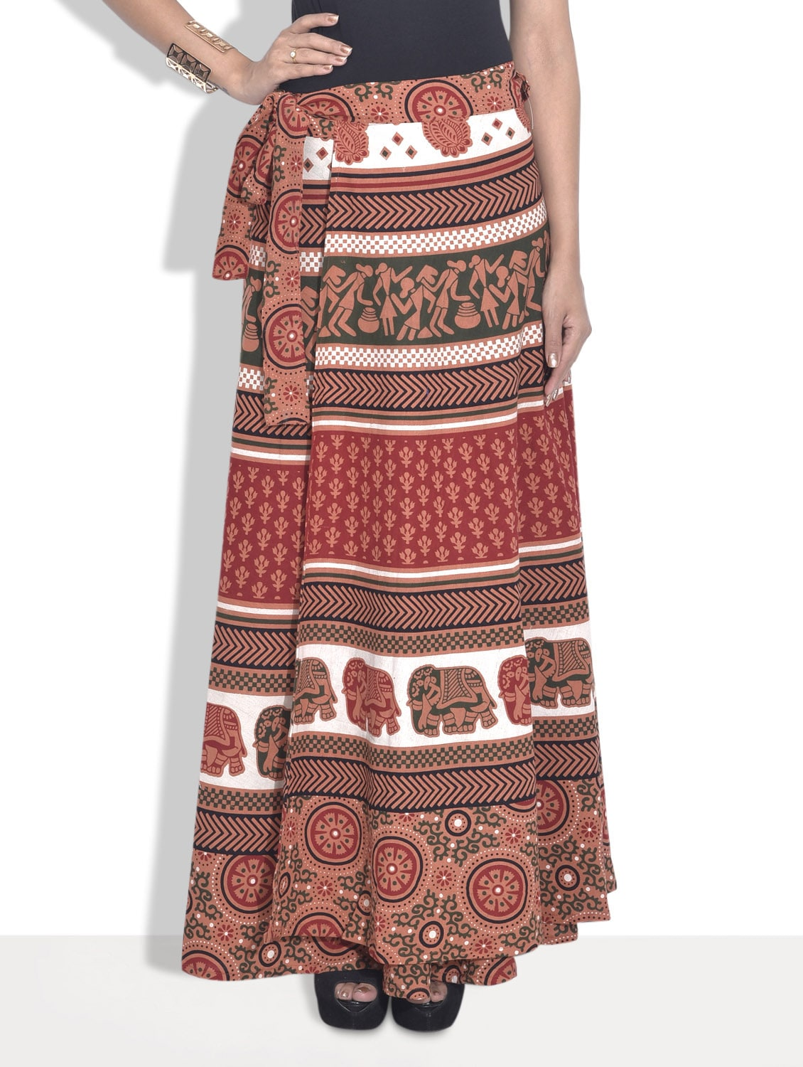 Multicoloured Printed Cotton Ethnic Skirt - By