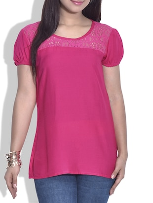 Pink short-sleeved rayon top