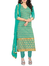 Gold And Green Embroidered Georgette Unstitched Suit Set - By