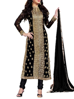 Black and gold embroidered unstitched suit set