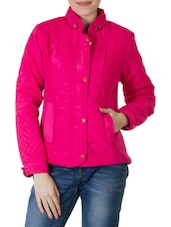 Solid Hot Pink Textured Short Jacket - By
