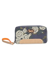 Dark Grey Floral Printed Zippered Wallet - By
