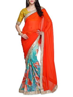 orange and blue floral printed georgette half & half saree