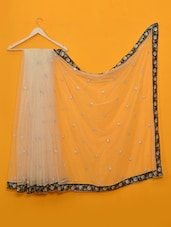 White Thread Work Net Saree - Vamika