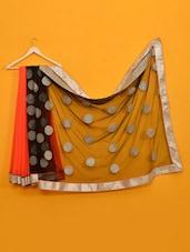 Mandira Bedi Orange & Black  Saree - Vamika