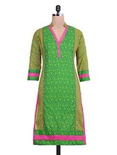 Green And Pink Cotton Printed Kurti - By