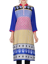 Multicolored Patchwork Printed Cotton Kurta - By
