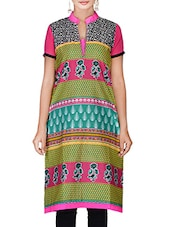 Multicolored Floral Patchwork Printed Cotton Kurta - By