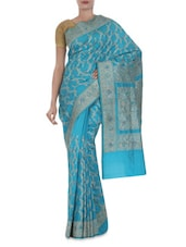 Blue Embroidered Banarasi Pure Katan Silk Saree - By