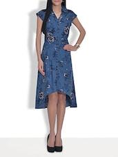 Blue Printed Cotton Hi-low Dress - By