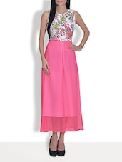 Fuchsia Pink Floral Printed Sleeveless Maxi Dress - By