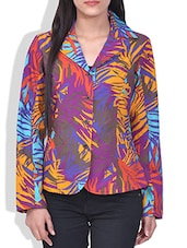 Multicolored Leaf Printed Cotton Jacket - By