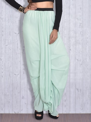 Mint green georgette dhoti pants