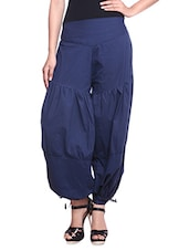 Blue Gathered Cotton Harem Pants - By