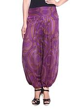Purple Printed Cotton Harem Pants - By
