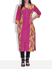 Pink Cotton Printed Three Quarter Sleeved Kurta - By