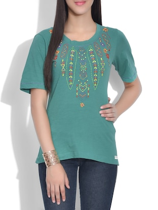 green knitted cotton embroidered top