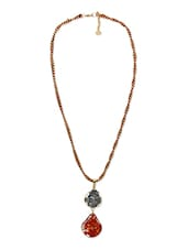 Red Brass Studded Long Necklace - By