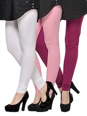 Set Of 3  Cotton Lycra Leggings - By