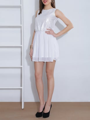 white polygeorgette sequined dress
